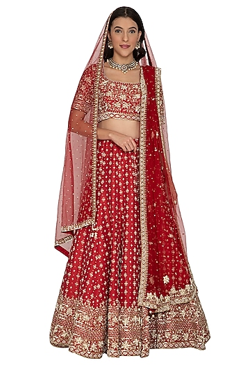 Red Embroidered Lehenga Set by Rabani & Rakha
