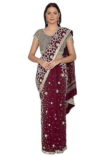 Wine Embroidered Saree Set by Rabani & Rakha