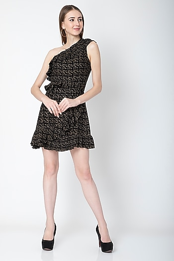 Black & Gold Ruffled Mini Dress With Detachable Belt by Renge