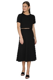 Black Poly Skirt With Zip Closure by Renge