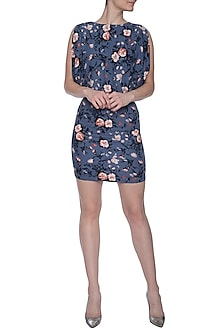 Blue floral mini dress by RENGE