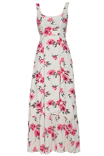 Cream floral maxi dress by RENGE