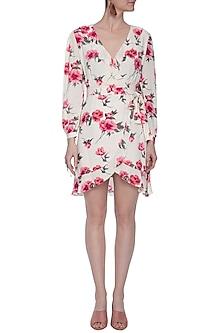 Cream mini wrap dress by RENGE