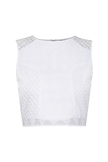 White embroidered crop top by RENGE
