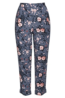 Blue floral trouser pants by RENGE