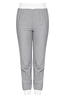 Grey and white trouser pants by RENGE