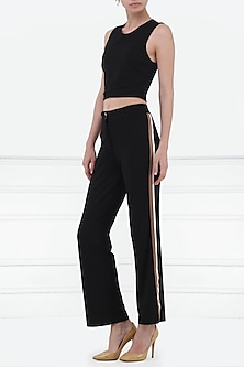 Black Trousers with Tri-Colour Stripes by Renge