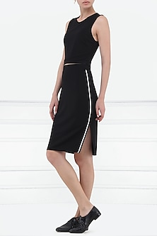 Black High Waisted Knee Length Skirt by Renge
