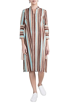Multicoloured Striped Ruffled Tunic Dress by Ruchira Nangalia