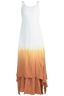 White Ombre Gaga Tunic With Skirt by Ruchira Nangalia