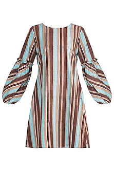 Multicolored Striped Ruffled Dress by Ruchira Nangalia