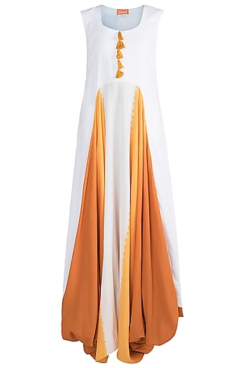 White Cowled Gaga Dress by Ruchira Nangalia