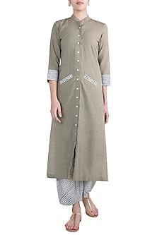 Grey Tunic With Striped Pants by Ruchira Nangalia