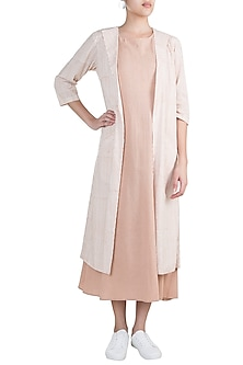 Blush Pink Layered Dress With Jacket by Ruchira Nangalia