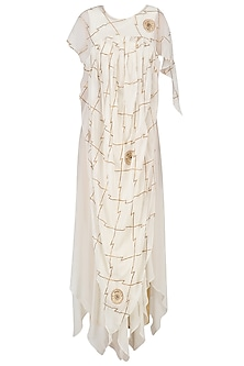 Ivory Gota Patti Embroidered Drape Gown by Ruchira Nangalia