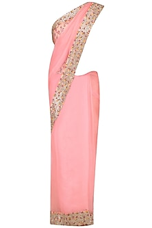 Pink Thread Work Saree with Salmon Pink Floral Printed Blouse by Ruchira Nangalia
