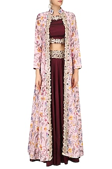 Marsala Red Gota Embroidered Crop Top and Skirt with Off White Printed Jacket by Ruchira Nangalia