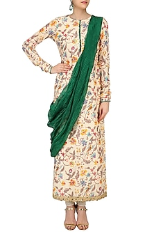Beige Floral Printed Tunic with Green Embroidered Drape Dupatta by Ruchira Nangalia