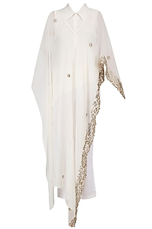 Ivory Embroidered Cape, Shirt and Pants Set by Ruchira Nangalia