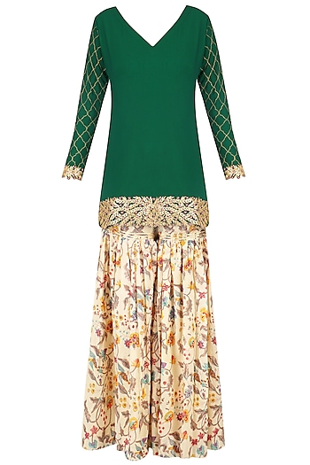 Emerald Green Embroidered Short Kurta with Off White Floral Print Garara Pants by Ruchira Nangalia