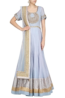Baby Blue Zardozi Embroidered Anarkali Set by RANG by Manjula Soni