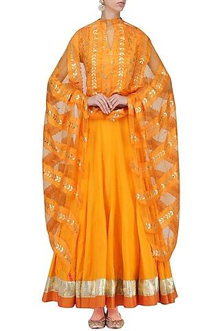 Yellow Zari and Sequins Embroidered Anarkali Set by RANG by Manjula Soni