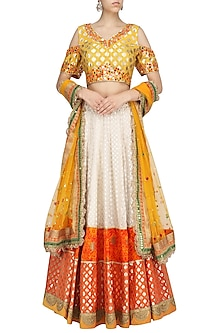 Cream and Yellow Chanderi Lehenga Set by RANG by Manjula Soni