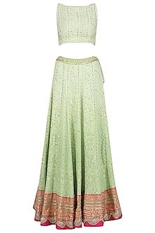 Sea Green and Pink Chikankari Embroidered Lehenga Set by RANG by Manjula Soni