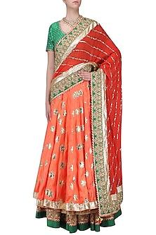 Red Embroidered Banarasi Lehenga Set by RANG by Manjula Soni