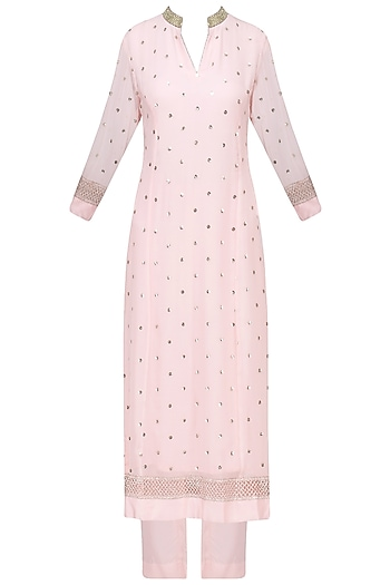 Pale Pink Sequins Embroidered Kurta with Pants Set by RANG by Manjula Soni