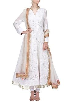 White Chikankari Embroidered Anarkali Set by RANG by Manjula Soni