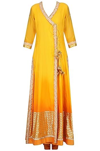 Yellow Ombre Embroidered Angrakha Anarkali Set by RANG by Manjula Soni