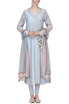 Blue Embroidered Angrakha Anarkali Set by RANG by Manjula Soni