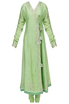 Green Embroidered Angrakha Anarkali Set by RANG by Manjula Soni