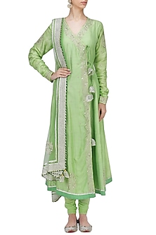 Green Embroidered Angrakha Anarkali Set by RANG by Manjula Soni
