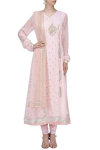 Baby Pink Sequins Embroidered Angrakha Anarkali Set by RANG by Manjula Soni