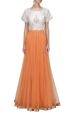 Cream and Gold Embroidered Crop Top by RANG by Manjula Soni