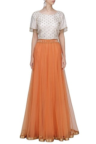 Cream and Gold Embroidered Fringe Crop Top by RANG by Manjula Soni
