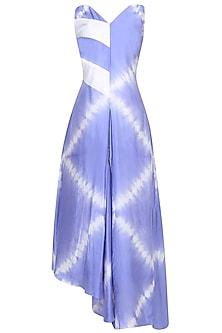 Indigo Tye And Dye Slashed Flary Dress by Ruchira Nangalia