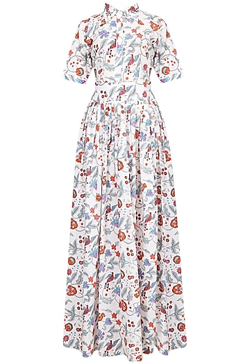 Indigo Floral Block Printed Shirt Maxi Dress by Ruchira Nangalia
