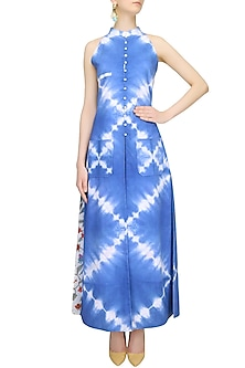 Indigo Tye And Dye Long Dress And Straight Pants Set by Ruchira Nangalia