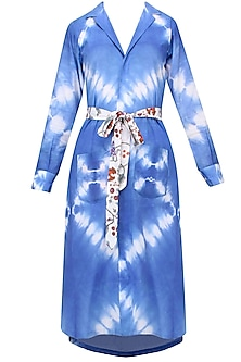 Indigo Tye And Dye Blazer Robe With Waistbelt by Ruchira Nangalia