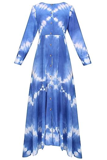 Indigo Tye And Dye Shirt Dress With Pants And Floral Block Print Jacket by Ruchira Nangalia