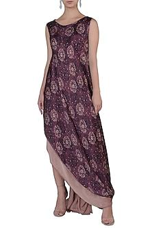 Mauve Layered Dress by Rimi Nayak