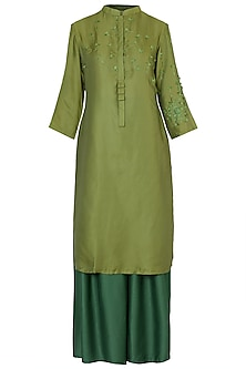 Green Dandelion Embroidered Kurta with Palazzo Pants by Rimi Nayak