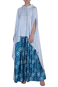 Blue Dandelion Printed Pleated Trousers by Rimi Nayak
