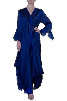 Blue Draped Long Tunic with Pants by Rimi Nayak