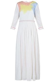 White Pleated Maxi Dress by Rimi Nayak