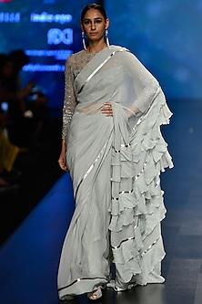 Aqua Blue Embroidered Ruffled Saree with Blouse Set by Rabani & Rakha