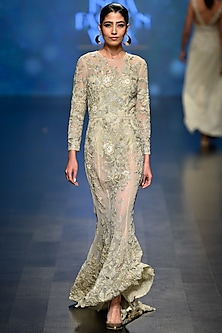 Pale Gold Beads and Sequins Embroidered Gown with Bodysuit by Rabani & Rakha